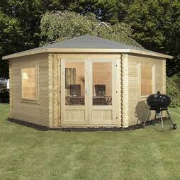 4m x 4m Waltons Lodge Corner Cabin 34mm Double Glazed