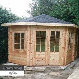 Waltons 5m x 3m Left Sided Lodge Plus Corner Log Cabin