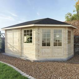 5m x 3m RS Corner Lodge+ 44mm Single Glazed