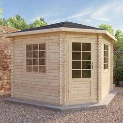 3m x 3m Corner Cabin 44mm Single Glazed
