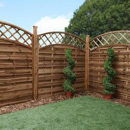 Convex Horizontal Weave with Integrated Trellis 1800mm x 1800mm  Pressure Treated