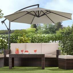 Garden Gear Cantilever Parasol  Grey  With Cover