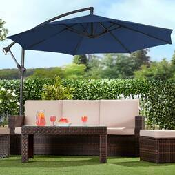 Garden Gear Cantilever Parasol  Navy  With Cover