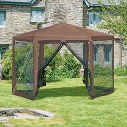 Hexagon Gazebo  Brown