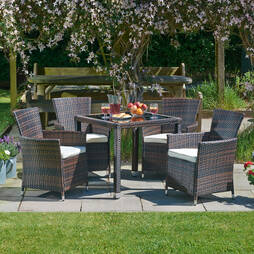 5 Piece Santorini Rattan Dining Set Brown Mix