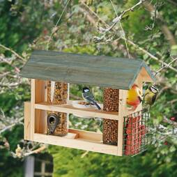Wooden Bird Feeder Station