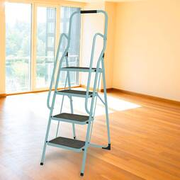 4 Step Ladder With Hand Rails  Blue
