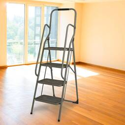 4 Step Ladder With Hand Rails  Grey