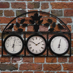 Garden Wall Clock  Black