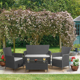 St Lucia Rattan Garden Lounge Set  Grey