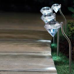 Set Of 4 Solar Diamond Lights