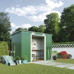 Waltons Pent Metal Shed 6.6X3.9ft Light Green