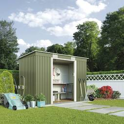Waltons Pent Metal Shed 8.5 X 3.9ft Light Green