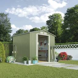 Light Green Waltons Apex 7 x 6.3ft Metal Shed With Foundation Kit