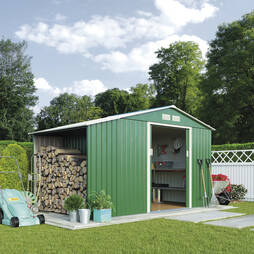 Log Store Metal Shed 9.1X4.2 Dark Green