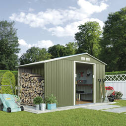 Log Store Metal Shed 9.1X4.2 Light Green