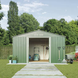 Light Green Waltons Apex 9.1 x 8.4ft Metal Shed With Foundation Kit