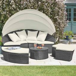 Garden Gear Rattan Daybed with Table and Cover  180cm  Black
