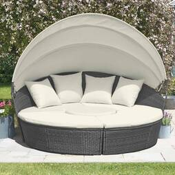 Garden Gear Rattan Daybed with Table  210cm  Grey With Cover