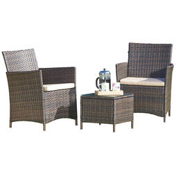 Seville Rattan Brown With Cream Cushion