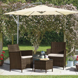 Seville Rattan Garden Bistro Set  Brown with Cover