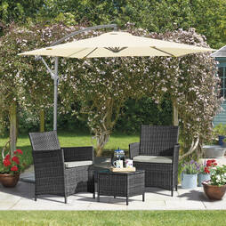 Seville Rattan Garden Bistro Set  Grey with Spare Cushion Covers and Cover