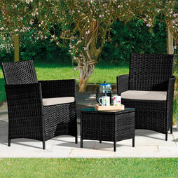 Seville Rattan Black With Cream Cushion