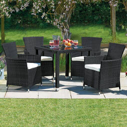 5 Piece Santorini Rattan Set Black/Cream