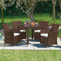 5 Piece Santorini Rattan Set Brown/Cream