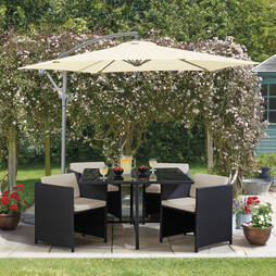 Sorrento Cubic Rattan Dining Set  Black