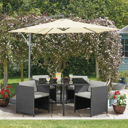 Sorrento Cubic Rattan Dining Set  Grey