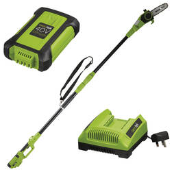 Aerotek 40V Cordless Telescopic Chainsaw With Charger and Battery