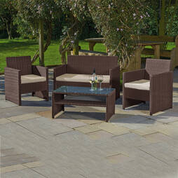 St Barts Rattan Set  Brown