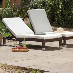 Palermo Rattan Lounger  Brown Twin Pack