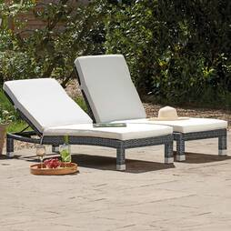 Palermo Rattan Lounger  Grey Twin Pack