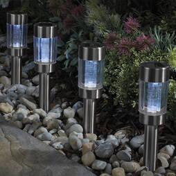 Silver Solar Stake Light X4