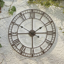 Roman Numeral Garden Wall Clock  Bronze