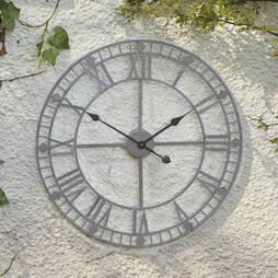Roman Numeral Garden Wall Clock  Grey