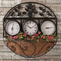 Garden Wall Clock/Flowerbasket  Black