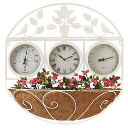 Garden Wall Clock/Flowerbasket  Cream