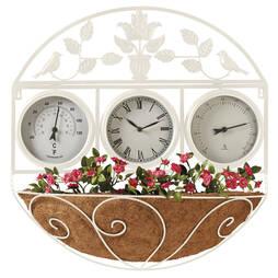 Garden Wall Clock/Flowerbasket  Cream