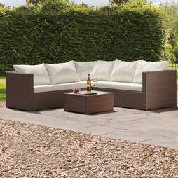 Miami Rattan Lounge Set Brown with Cream Cushions