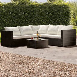 Miami Rattan Lounge Set Black with Cream Cushions