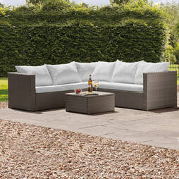 Miami Rattan Lounge Set Grey with Pale Grey Cushions