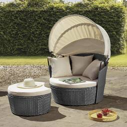 Valencia Rattan Day Bed  Grey with cream cushions