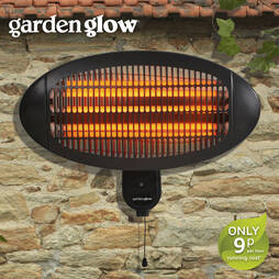 2000W Wall Mounted Patio Heater  Black