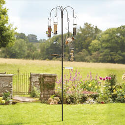 Bird Feeding Station with 4 Bird Feeders  Cream