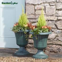 Garden Grow Set of Two Urn Planters  Bronze