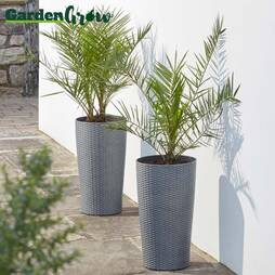 Garden Grow Set of Two Large Planters  Brown