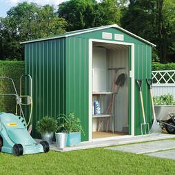 Light Green Waltons Apex 7 x 4.2ft Metal Shed